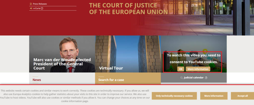 Court of Justice Website